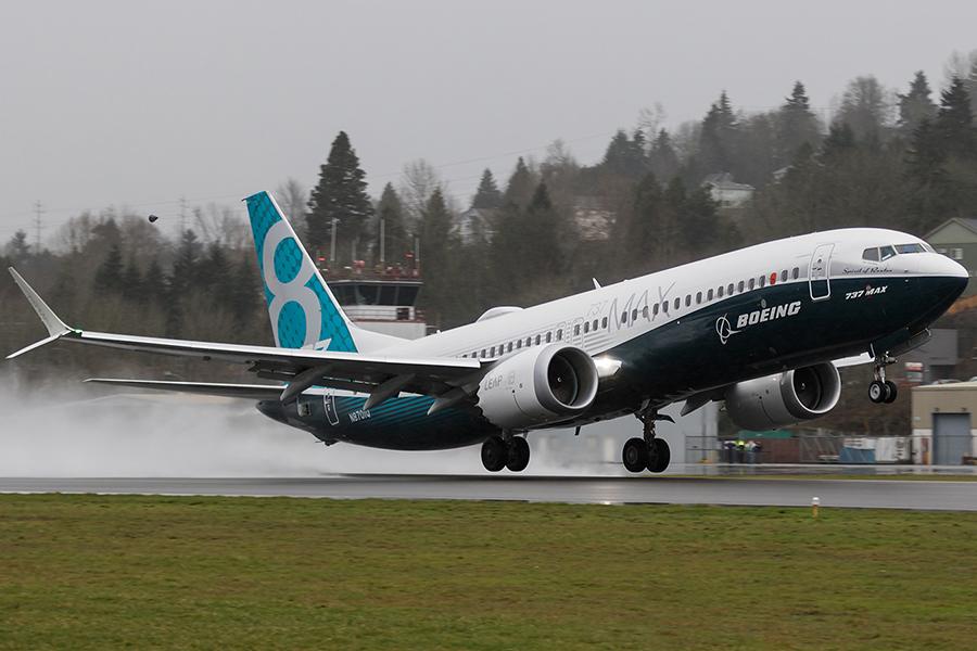 Boeing 737 Plane MAX Take-off First Test Flight